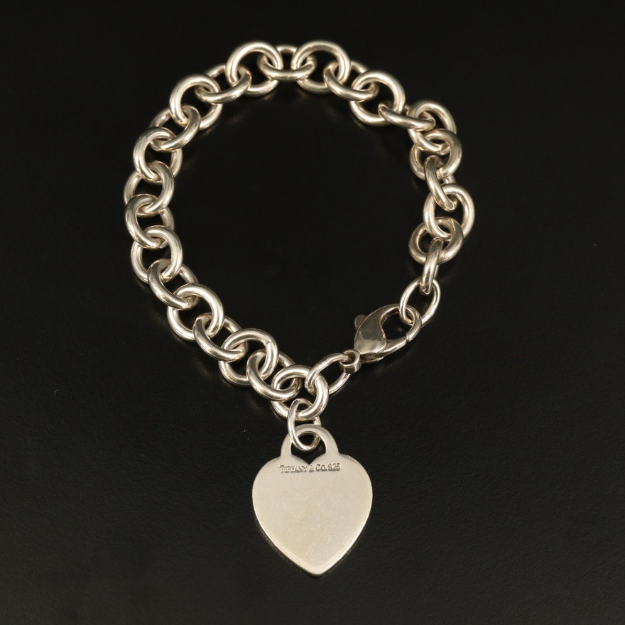 Tiffany & Co. Sterling Monogrammed Heart Tag Bracelet