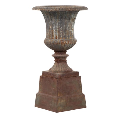 Neoclassical Style Cast Metal Footed Urn Planter on Stand