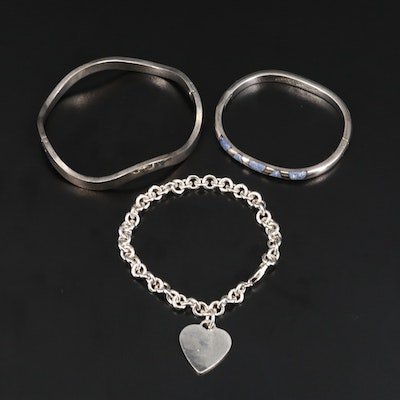 Sterling Silver Hinged Bangles and Heart Charm Bracelet