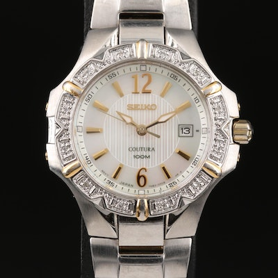 "Seiko ""Coutura"" Diamond Bezel and Mother of Pearl Dial Wristwatch"