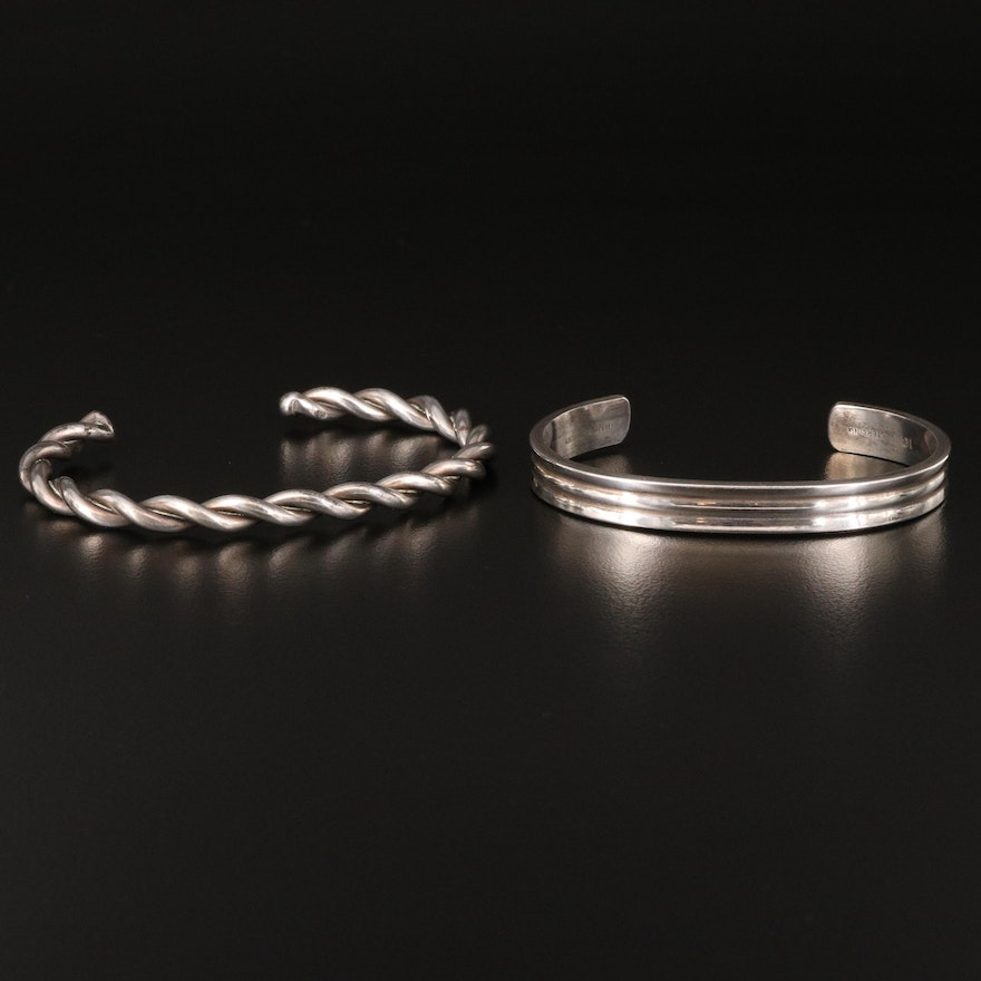 Handwrought and Twisted Wire Cuff Bracelets Including Sterling
