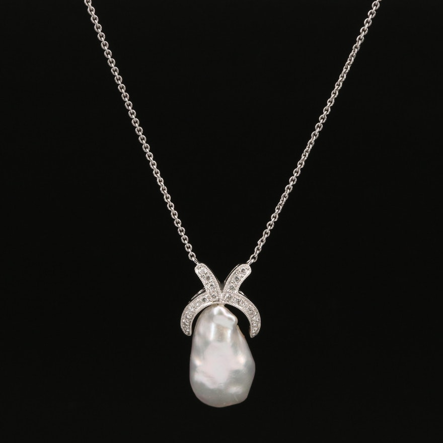 18K Baroque Pearl and Diamond Necklace