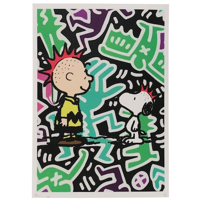 Death NYC Pop Art Style Offset Lithograph of Charlie Brown and Snoopy