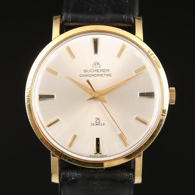 Vintage Bucherer Chronometer Gold Plated Automatic Wristwatch