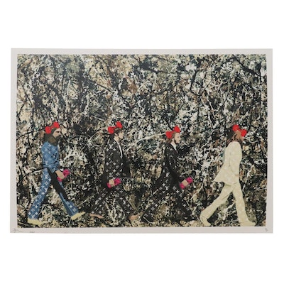 Death NYC Pop Art Graphic Print after Jackson Pollock and Iain Macmillan