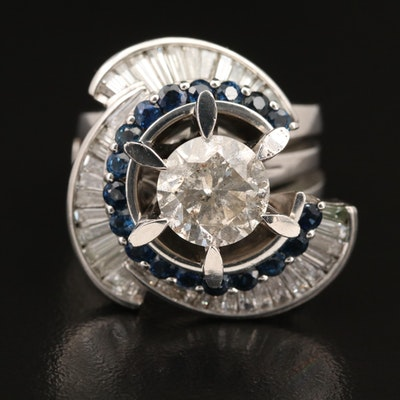Platinum 4.40 CTW Diamond and Sapphire Ring Set