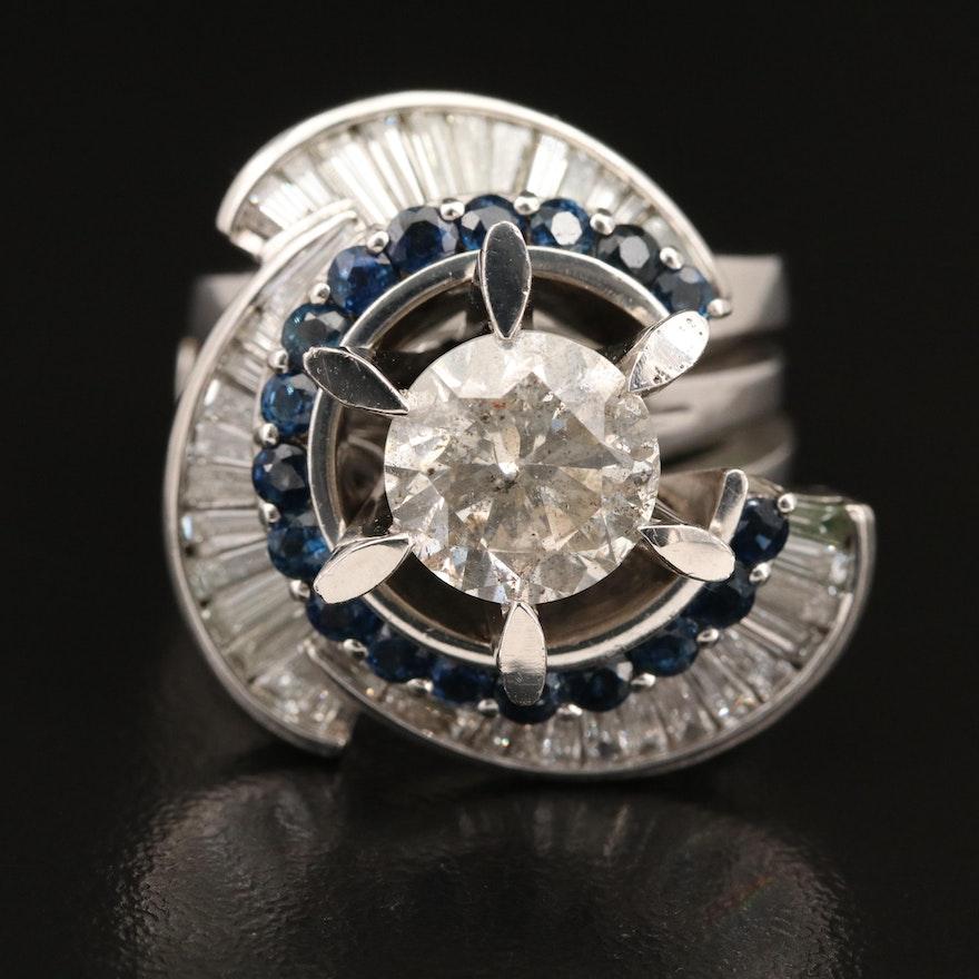 Platinum 4.40 CTW Diamond and Sapphire Ring Set