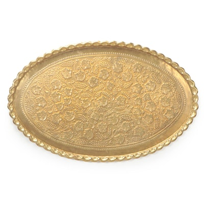 Indo-Persian Brass Repoussé Berry and Foliate Oval Tray Wall Hanging