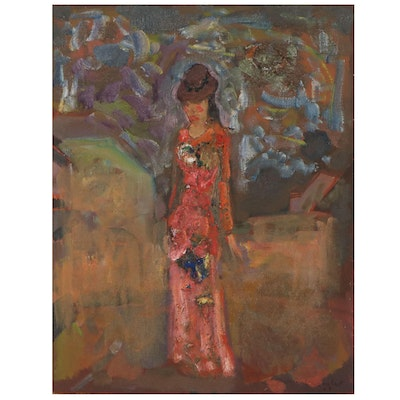 Murat Kaboulov Abstract Oil Painting of Figure in Dress _#998_, 2003