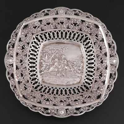 German 800 Silver Repoussé and Pierced Basket, Mid-Late 19th Century
