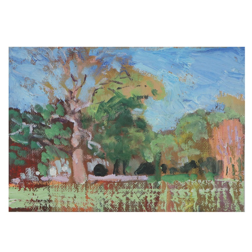 Murat Kaboulov Miniature Abstract Landscape Oil Painting, Late 20th Century