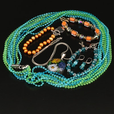 Jewelry Including Mexican 950 Silver Pendant and Italian Chain
