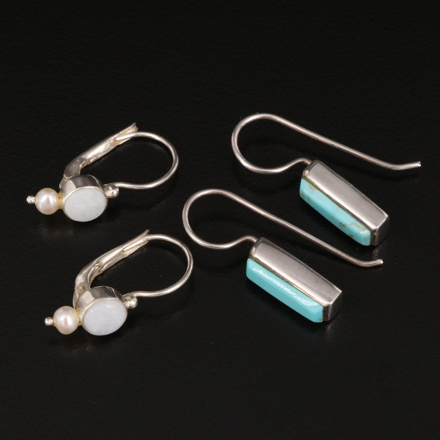 Sterling Earrings Selection Featuring Opal, Pearl and Turquoise