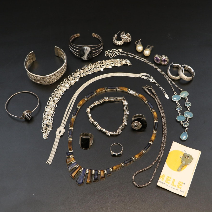 Sterling Jewelry Including Onyx, Sodalite and Jewelry Box