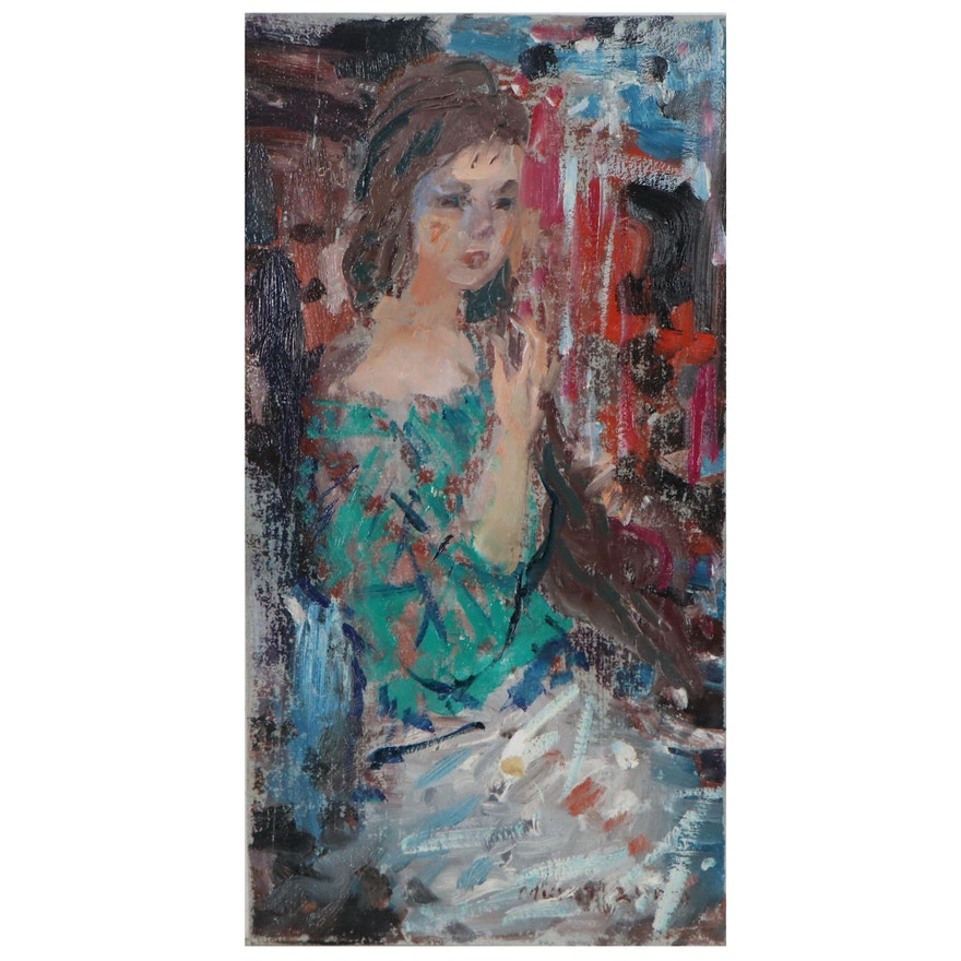 Murat Kaboulov Figurative Oil Painting, Late 20th Century