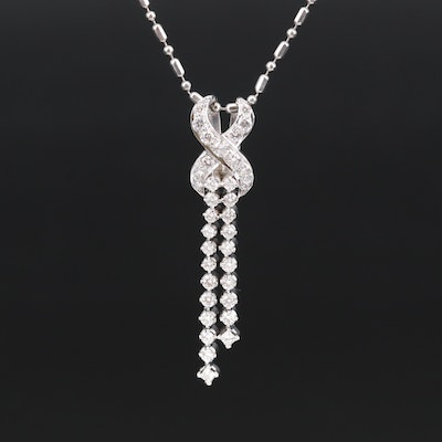 Italian 14K Diamond Tassel Necklace