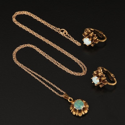 14K Opal Necklace and Clip Earring Set