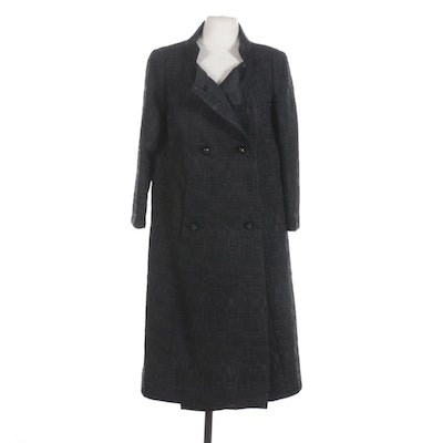 Dominique Verdet Black Jacquard Double-Breasted Swing Coat
