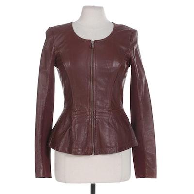 Hinge Burgundy Leather Zipper-Front Jacket