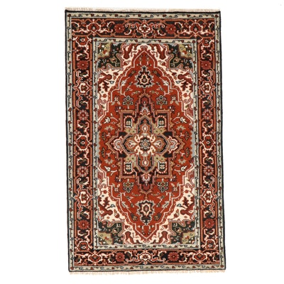 4'11 x 8'4 Hand-Knotted Indo-Persian Heriz Area Rug