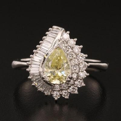 Platinum 1.94 CTW Diamond Teardrop Ring with GIA Report