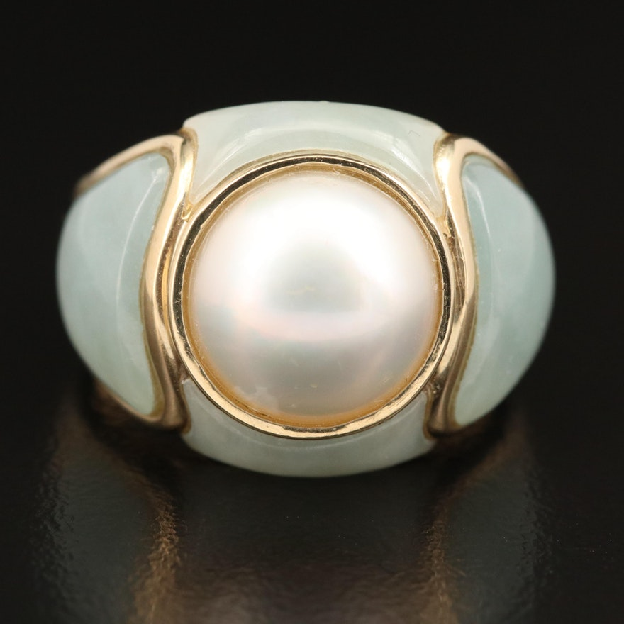 14K 12.00 mm Pearl and Jadeite Domed Ring