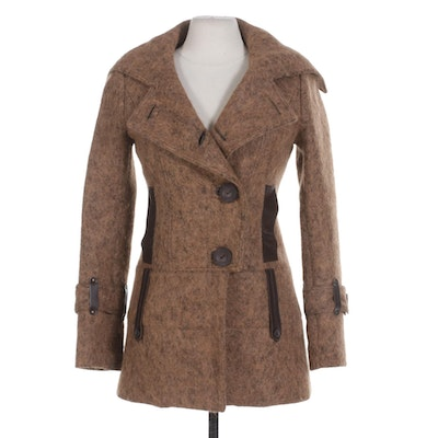 Mackage Wool Blend and Leather Trimmed Button-Front Coat