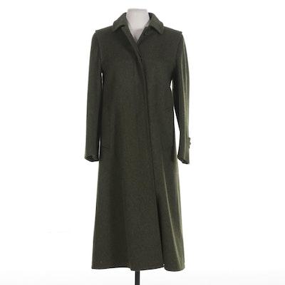 Burberrys Loden Green Wool Riding Coat