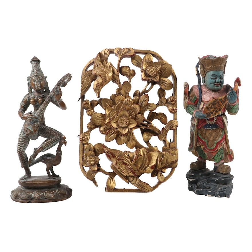 Hindu Bronze Figure of Saraswati with Chinese Wood Carved God of Music and More