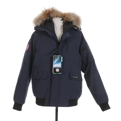 Canada Goose Navy Blue Down Parka with Coyote Fur Hood