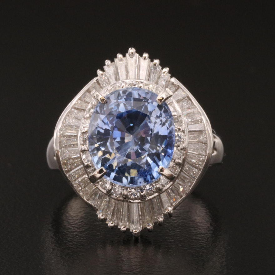 Platinum 4.29 CT Sapphire and Diamond Ring with GIA Report