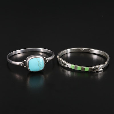 Mexican Sterling Silver Faux Turquoise and Faux Gaspeite Bracelets