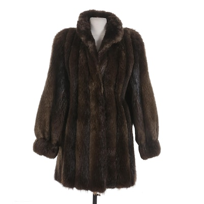 Canadian Beaver Fur Coat with Banded Cuffs