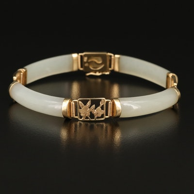 14K Curved Nephrite Bar Bracelet with Folitate Accent Links