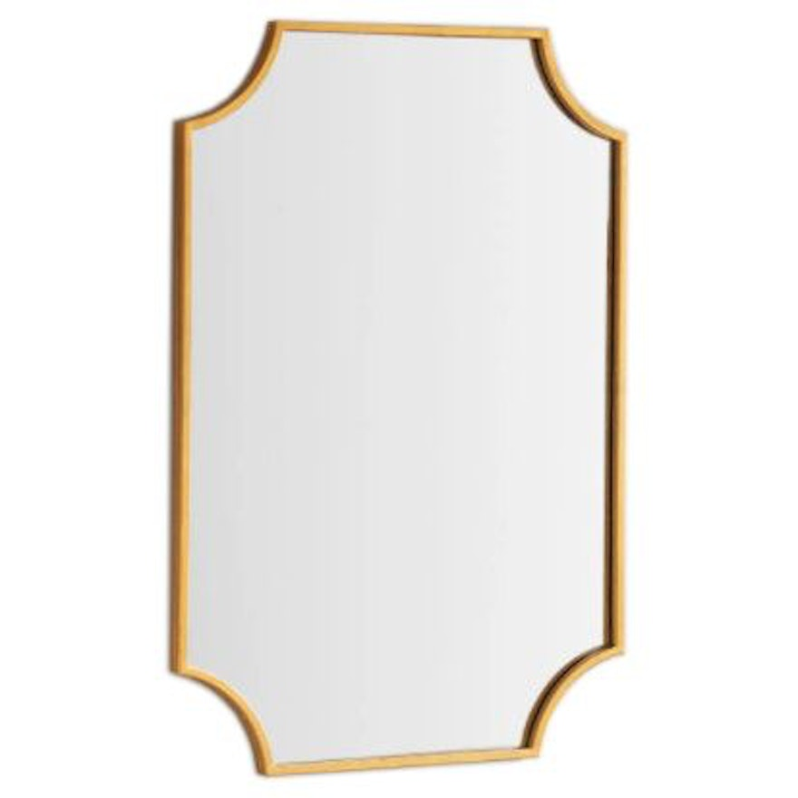 """Ulric"" Iron Gold Leaf Wall Mount Vanity Mirror"