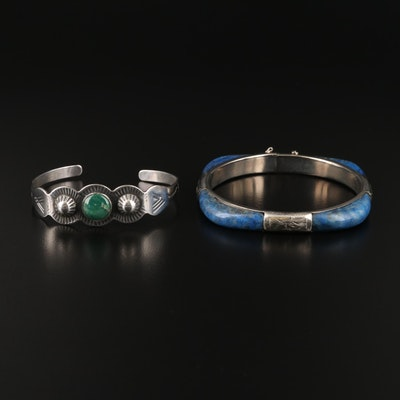 Sterling Turquoise Cuff with Lapis Lazuli Hinged Bracelet