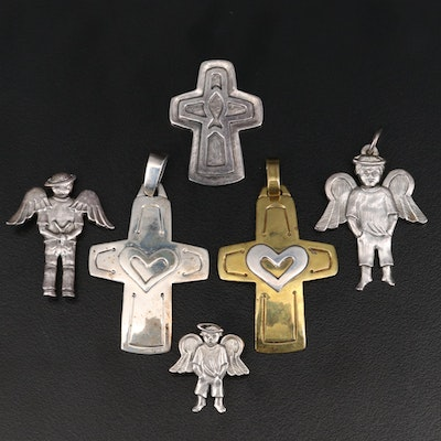 Jeep Collins Sterling and Brass Pendants and Brooches