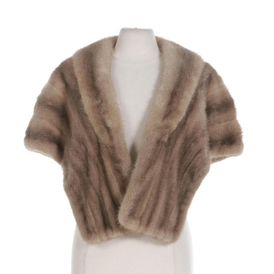 Pastel Mink Fur Open-Front Stole