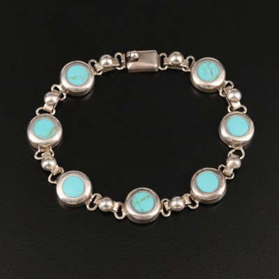 Mexican Sterling Faux Turquoise Bracelet