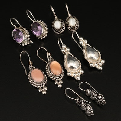 Sterling Earrings Including Amethyst and Gemstones