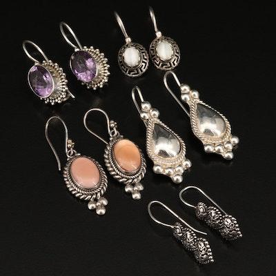 Sterling Earrings Including Amethyst and Gemstones