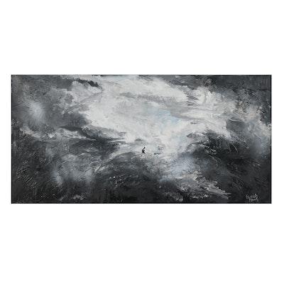 "Parrish Monk Mixed Media Painting ""Life's Storm,"" 21st Century"