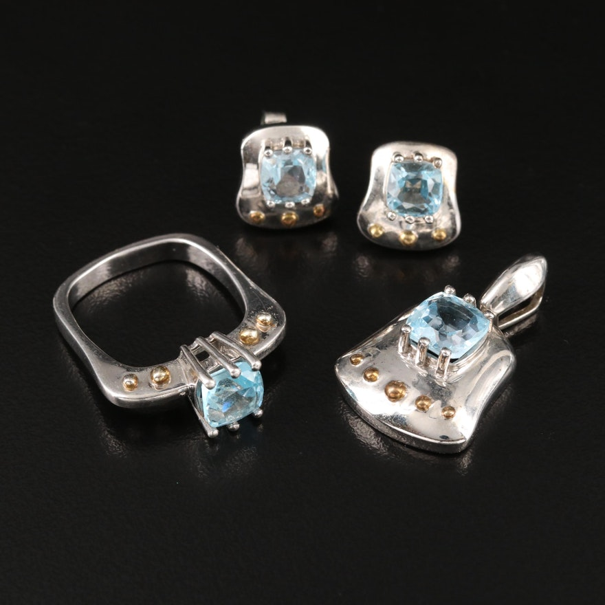 Sterling Sky Blue Topaz Square Ring, Pendant and Earring Set