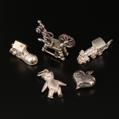 Sterling Pendants Featuring Articulated Bear and the Old Woman in a Shoe