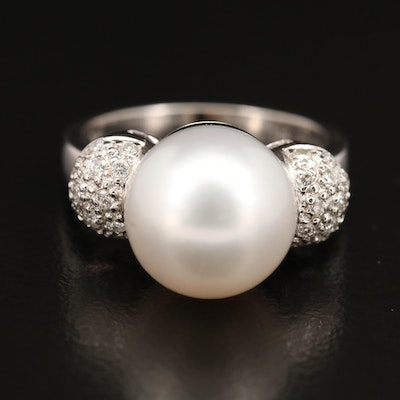 18K Pearl and Pavé Diamond Ring