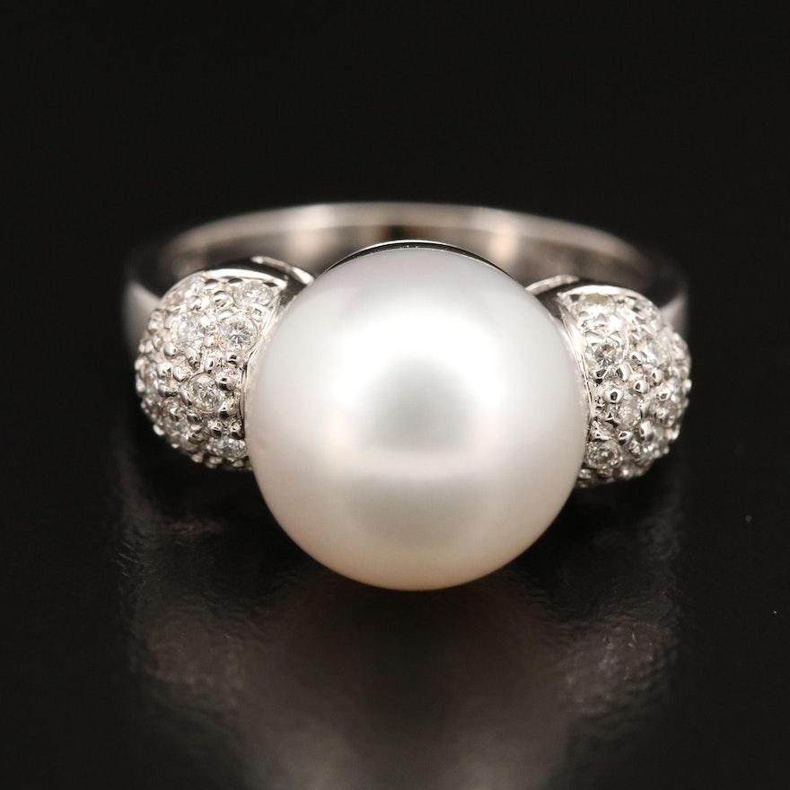 18K Pearl and Pavé Diamond Ring