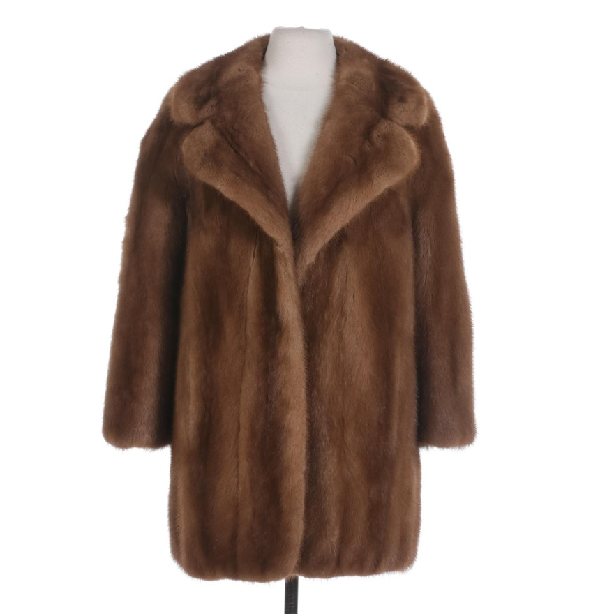 Mink Fur Coat with Wide Notched Lapel by Mohlé Originals for L. Strauss