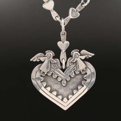 Jeep Collins Sterling Heart and Angel Necklace