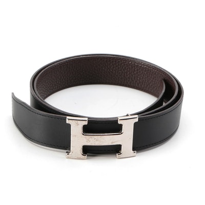 Hermès Reversible Constance Belt in Cafe Clemence and Noir Box Calf Leather