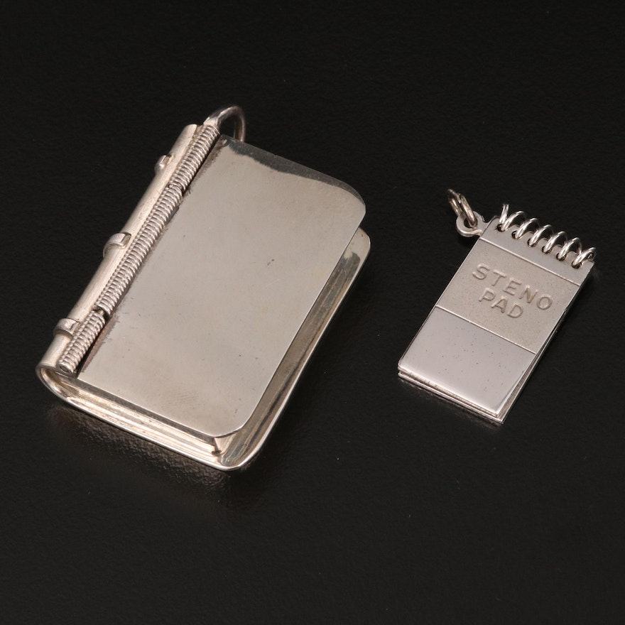 Sterling Book Locket with Notepad Charm